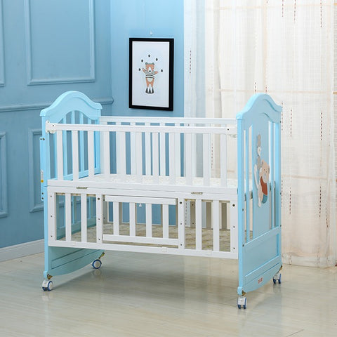 Solid Wood Baby Crib Cot with Matress - Model 230 - White Blue
