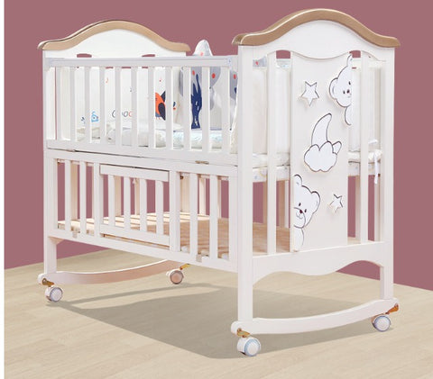 Solid Wood Baby Crib Cot - Model 598 - White