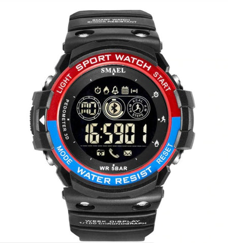 Smael Multifunctiona Bluetooth Watch - Model 1602 - Black Red Blue