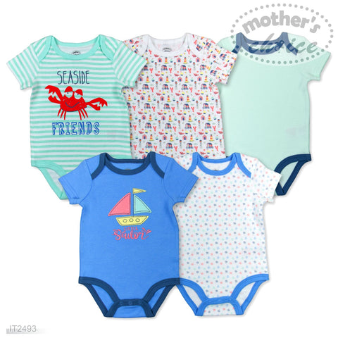 5 PACK BODYSUITS 'LITTLE SAILOR'