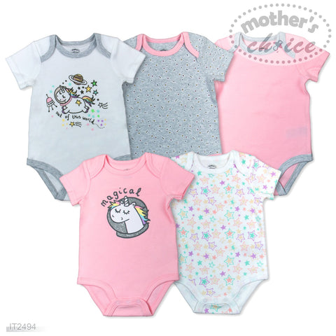 5 PACK BODYSUITS 'UNICORN'