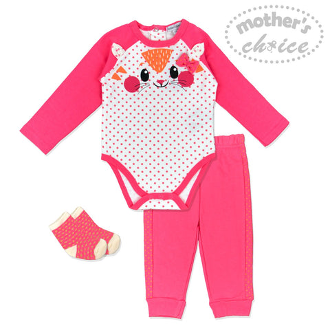 GRILS 3PC SET - DARK PINK KITTY