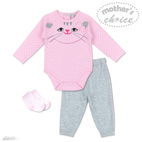 GRILS 3PC SET - PINK KITTY