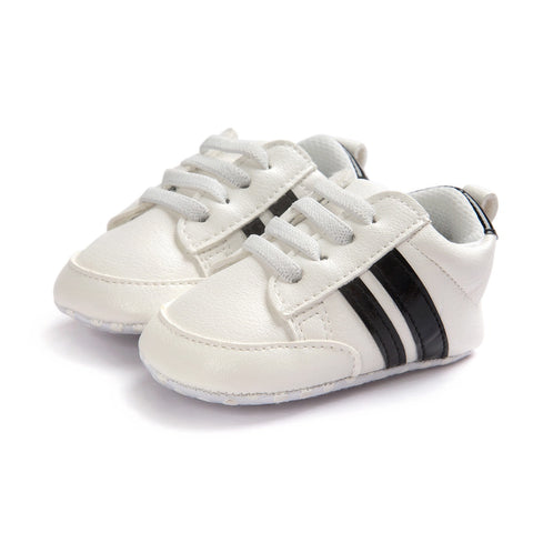 Infants Anti-slip Soft sole Sneakers - White with Black Edge