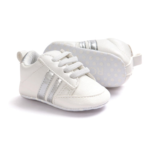 Infants Anti-slip Soft sole Sneakers - White with Silver Edge