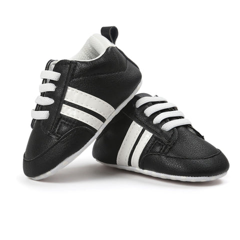 Infants Anti-slip Soft sole Sneakers - Black with White Edge