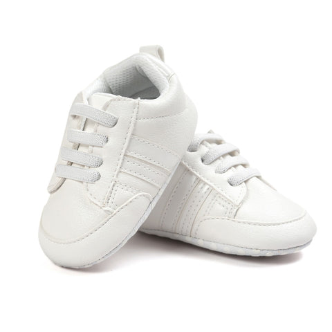 Infants Anti-slip Soft sole Sneakers - White with White Edge