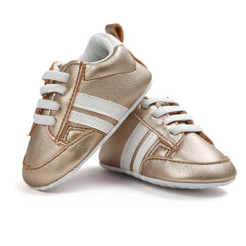 Infants Anti-slip Soft sole Sneakers - Gold with White Edge