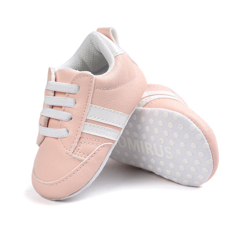 Infants Anti-slip Soft sole Sneakers - Pink with White Edge