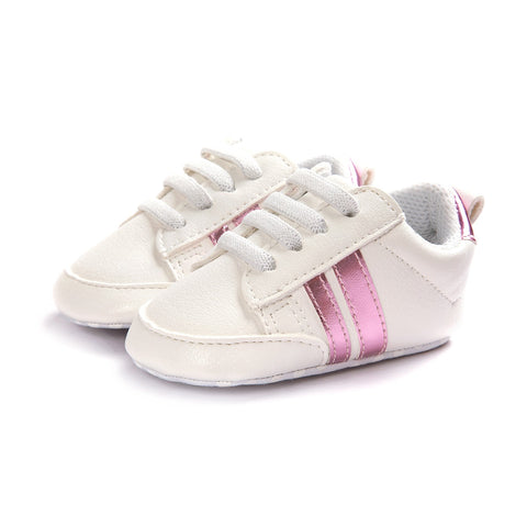 Infants Anti-slip Soft sole Sneakers - White with Pink Edge