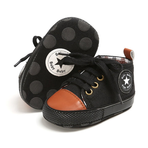 Infants Anti-slip Soft Sole Canvas Sneakers - Black & Brown