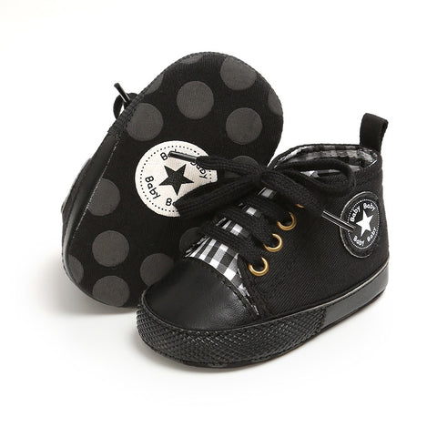 Infants Anti-slip Soft Sole Canvas Sneakers - Black