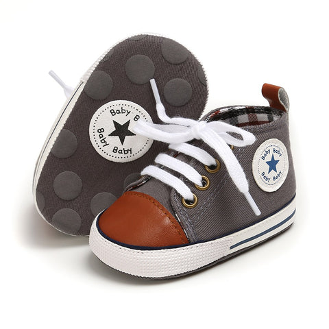 Infants Anti-slip Soft Sole Canvas Sneakers - Grey