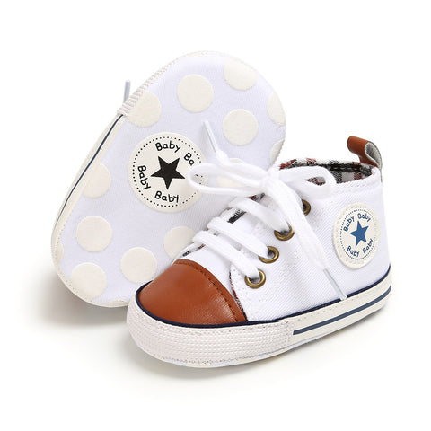 Infants Anti-slip Soft Sole Canvas Sneakers - White