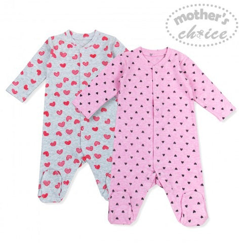 2 PACK BABYGROWS - HEARTS