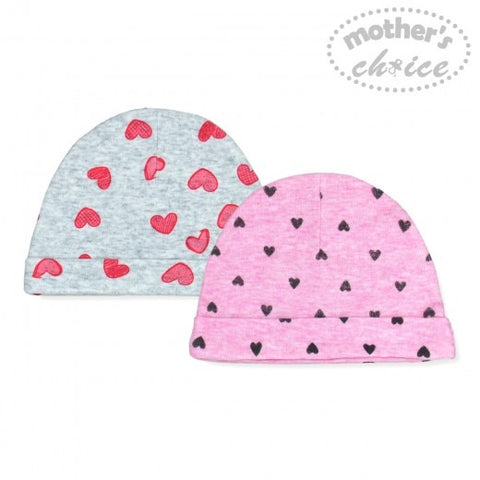 2 PACK BEANIE SETS - HEARTS