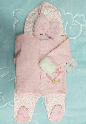 3PC QUILTED WINTER SET - BABY GIRL
