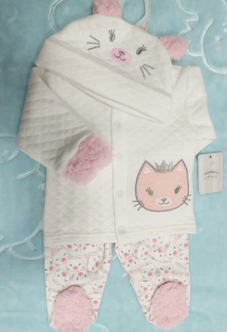 3PC QUILTED WINTER SET - KITTY