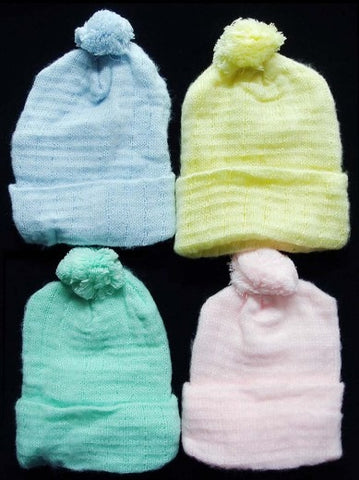INFANTS NON-EARFLAP KNITTED HATS SOLID PASTAL