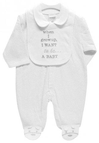 BABYGROW & BIB SET WHEN I GROW UP I WANT TO BE A BABY