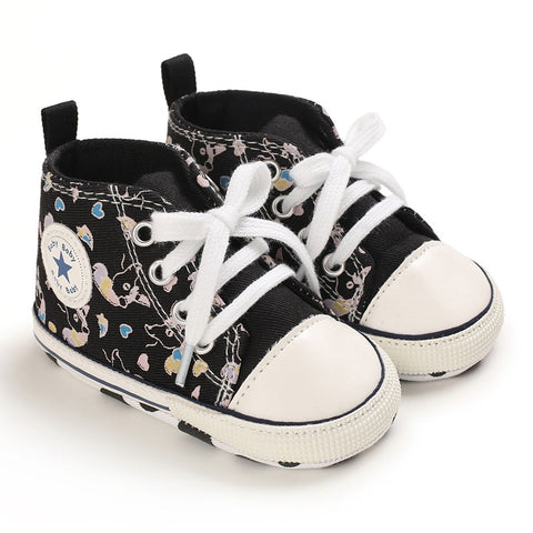Infants Anti-slip Girls Canvas Sneaker - Black