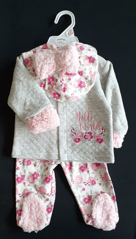 3PC QUILTED WINTER SET - HELLO WORLD
