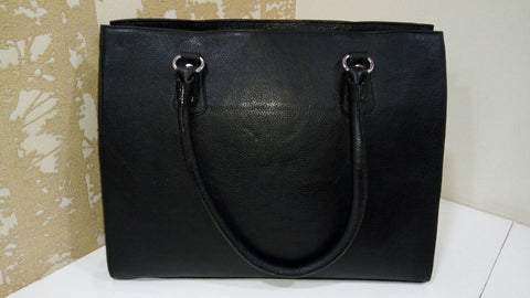 100% Genuine Buffalo Leather Elegant Formal Everyday Handbag - Black
