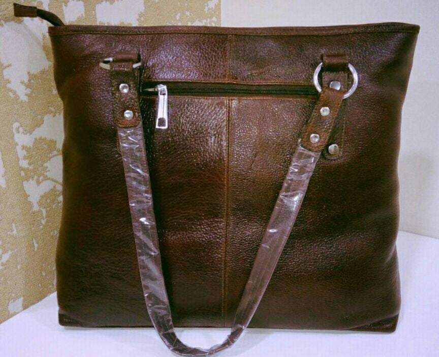 100% Genuine Buffalo Leather Strapped Everyday Handbag - Champagne Brown