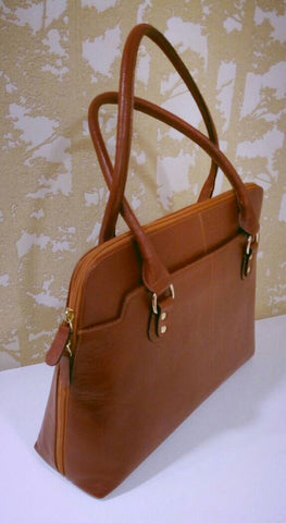 100% Genuine Buffalo Leather Elegant Formal Everyday Handbag - Tan Brown