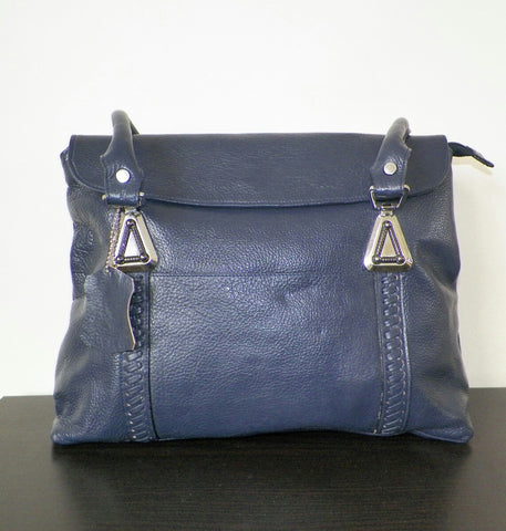 100% Genuine Buffalo Leather Elegant  Everyday Handbag - Navy