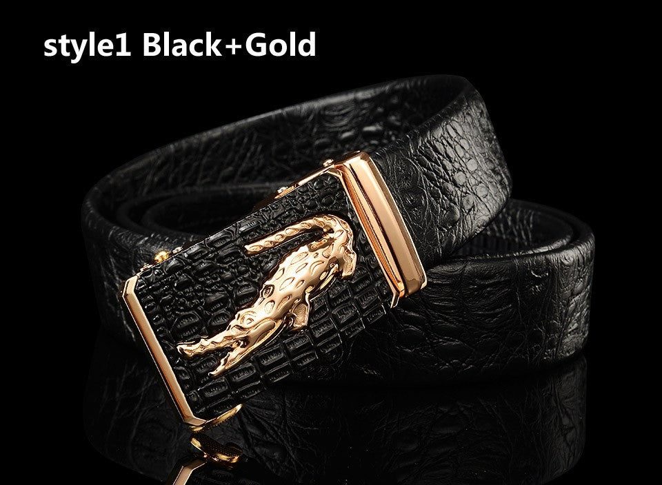 Genuine Leather Automatic Buckle Belt - Crocodile Finish