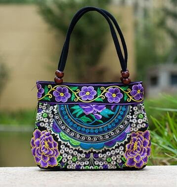Ladies Floral Embroidered Bags - Purple