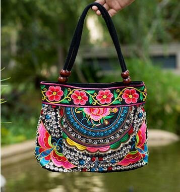 Ladies Floral Embroidered Bags - Red