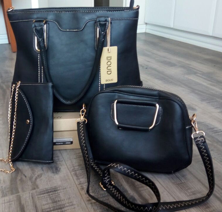 Ladies 3pc Handbag Set - Black