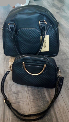 Ladies 2pc Handbag Set - Black