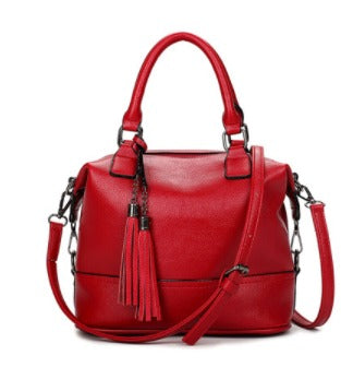 Ladies Cross Body Bucket Handbag - Red