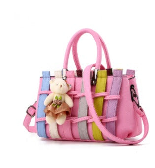 Ladies Cross Body Striped Hand Bag - Multi Pink