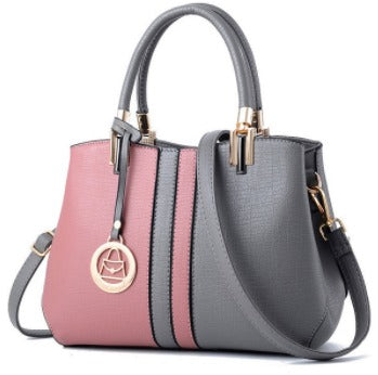 Ladies Patchwork Hand Bag - Pink Grey