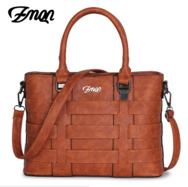 Ladies Cross Body Weave Handbag - Brown