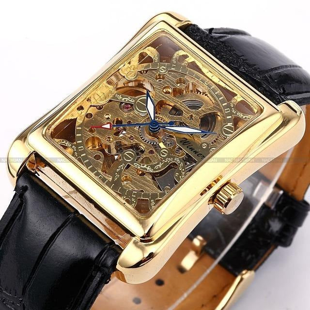 Automatic Rectangle Skeleton Mechanical Watches - Gold