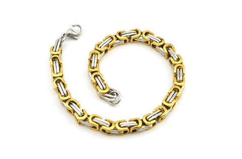 Men's Byzantines Stainless Steel Link Chain Bracelet 5.5mm - Silver Gold