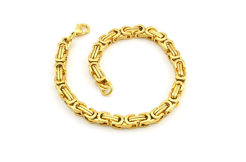 Men's Byzantines Stainless Steel Link Chain Bracelet 5.5mm - Gold