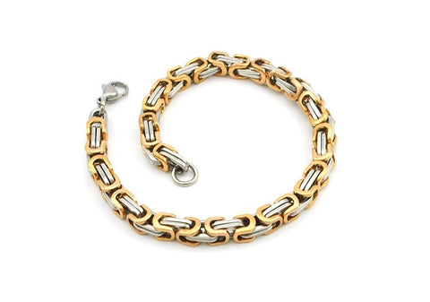 Men's Byzantines Stainless Steel Link Chain Bracelet 5.5mm - Rose Gold and Silver