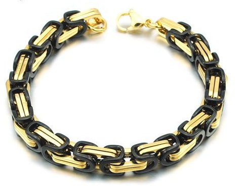 Men's Byzantines Stainless Steel Link Chain Bracelet - Black & Gold