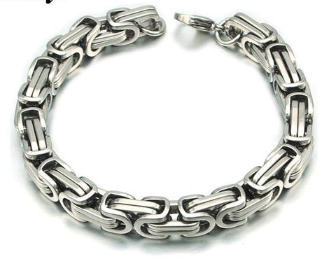 Men's Byzantines Stainless Steel Link Chain Bracelet 8mm - Silver