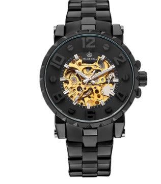 MG Orkina Automatic Skeleton Mechanical Watches - Stainless Steel Band -  Black