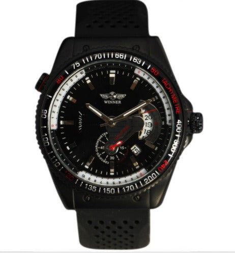 Automatic Skeleton Mechanical Watches - Black Silicone Band with Date
