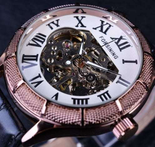Automatic Skeleton Mechanical Watches -  Brown White