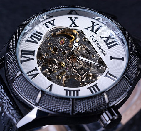 Automatic Skeleton Mechanical Watches -  Black White