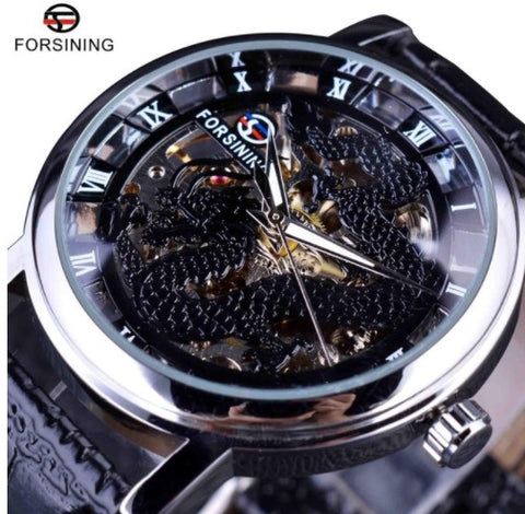 Automatic Skeleton Mechanical Watches - Dragon Black
